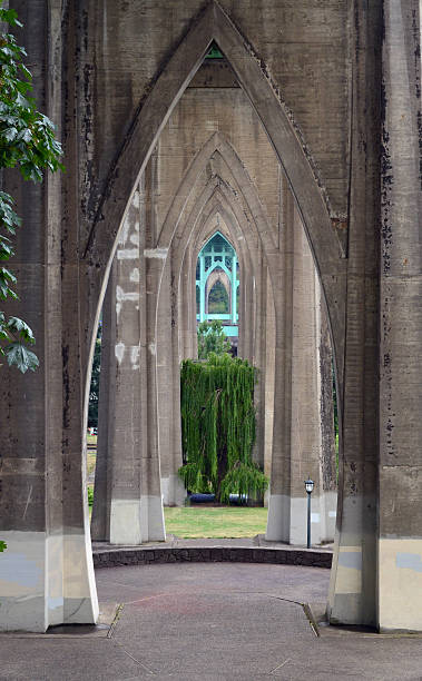 Cathedral Park in St. John, Portland, Oregon stock photo