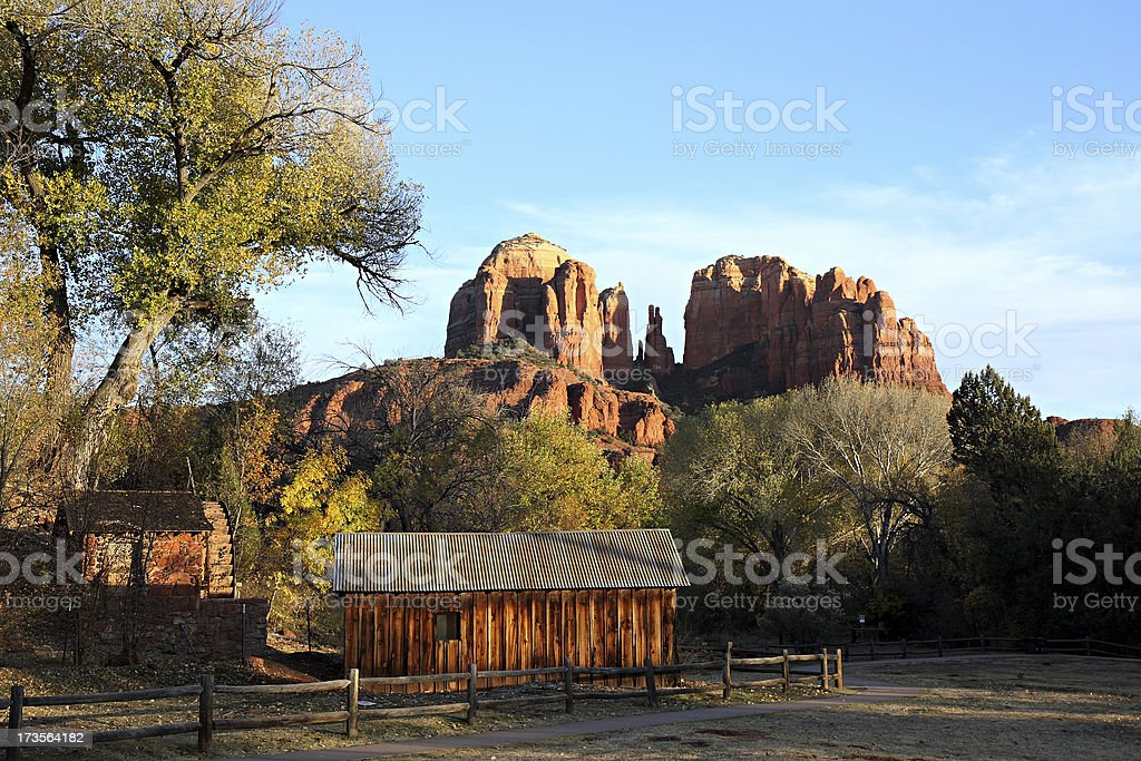 Cathedral Rock And Weathered Farm Building royalty-free stock photo