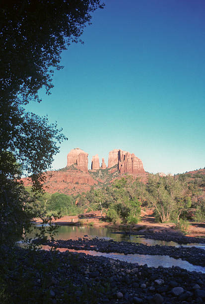 Cathedral Rock, Arizona, late afternoon Cathedral Rock in the Sedona area of Arizona, shot in late afternoon with deep shadows in the foreground -- perfect for copy space. hearkencreative stock pictures, royalty-free photos & images
