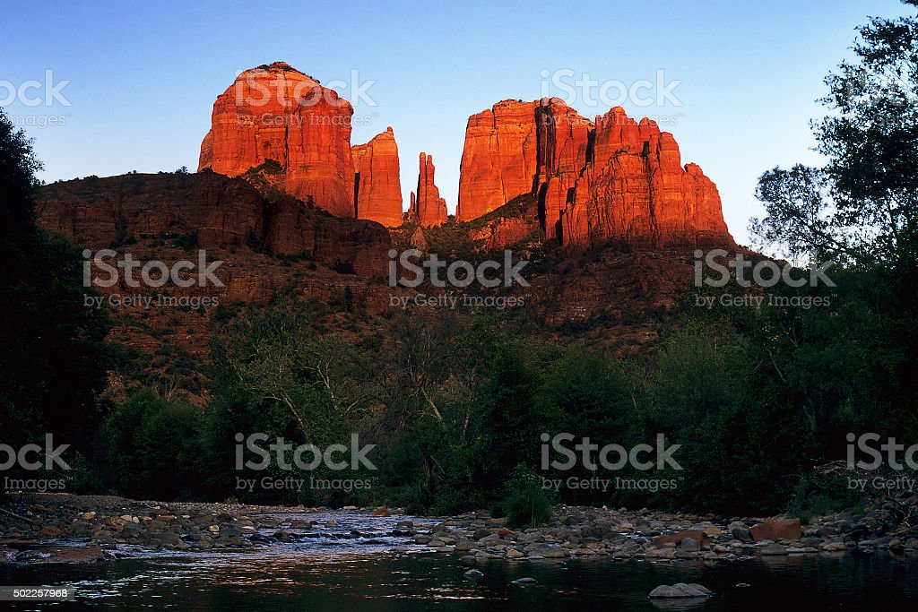 Cathedral Rock at the Oak Creek Canyon stock photo