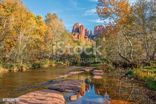 a reflection of cathedral rock Sedona Arizona in autumn