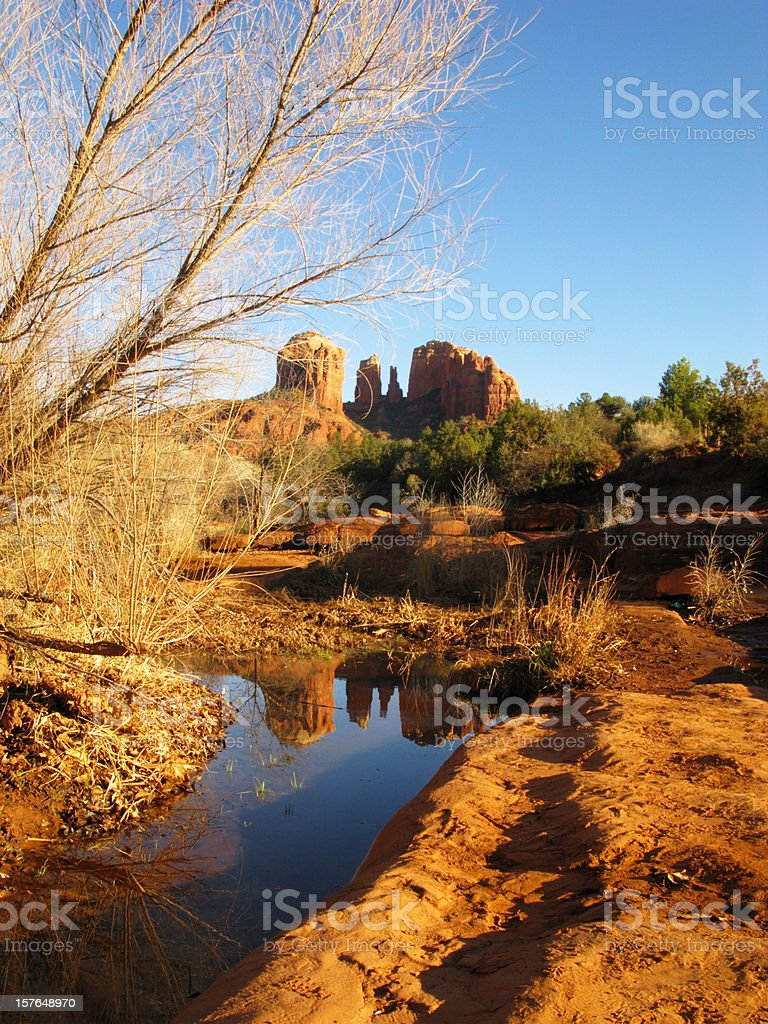 Cathedral Rock Butte Reflection royalty-free stock photo