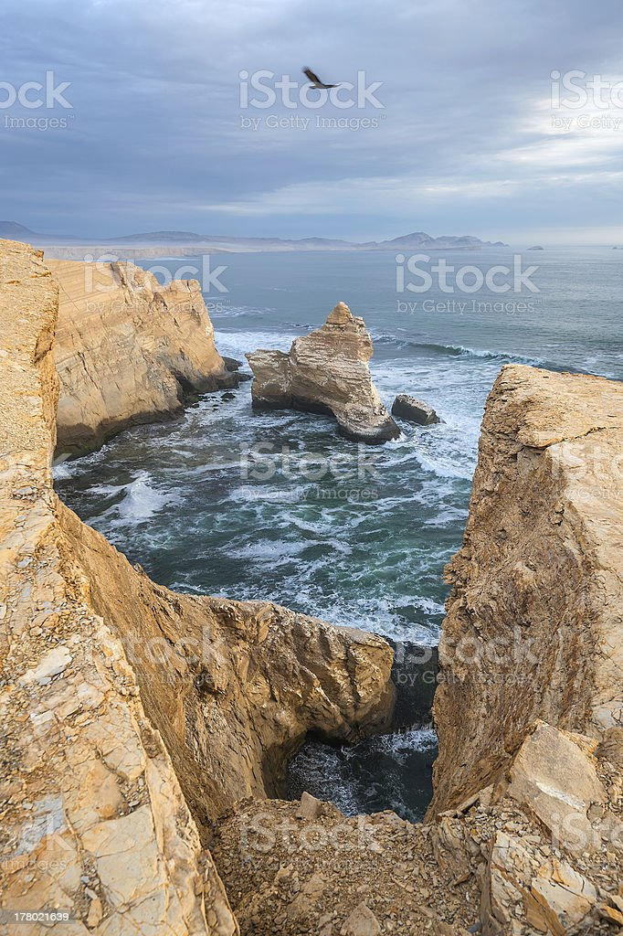 Cathedral Rock Formation, Peruvian Coastline stock photo