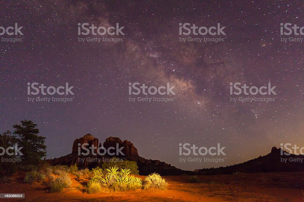 Cathedral Rock Milky Way stock photo