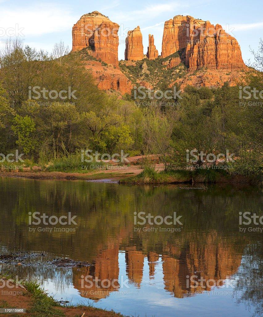 Cathedral Rock Oak Creek reflection near sunset, Sedona, Arizona stock photo