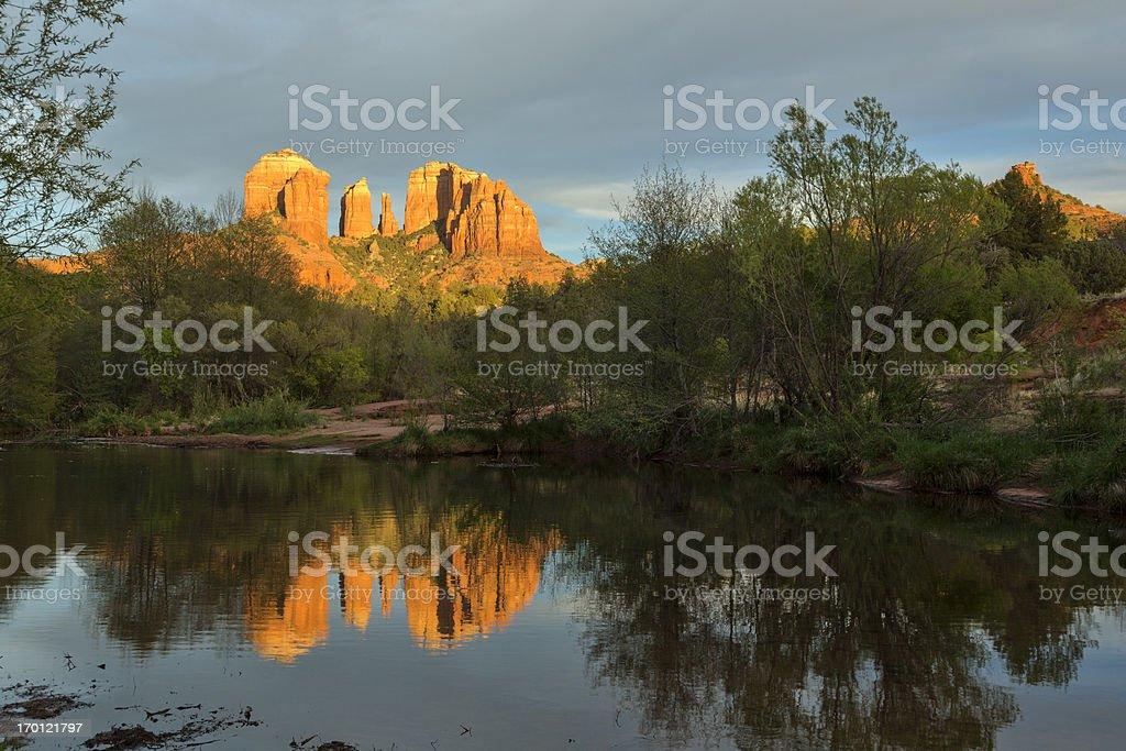 Cathedral Rock Oak Creek sunset reflection, Sedona, Arizona (HDR) stock photo