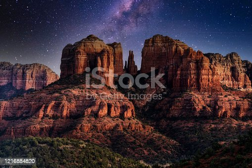 The Milky Way over Cathedral Rock near Sedona, Arizona.