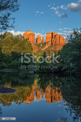 a scenic reflection of cathedral rock Sedona Arizona in oak creek in the evening