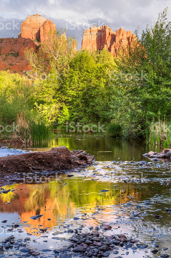 Cathedral Rock Reflections stock photo