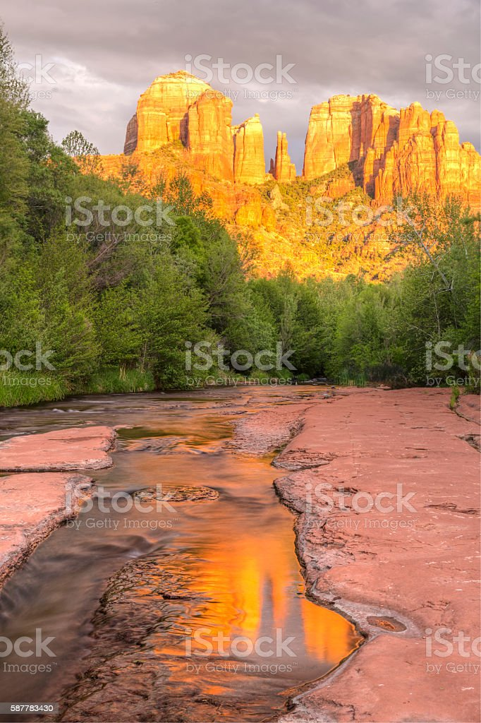 Cathedral Rock Ripples and Reflections stock photo