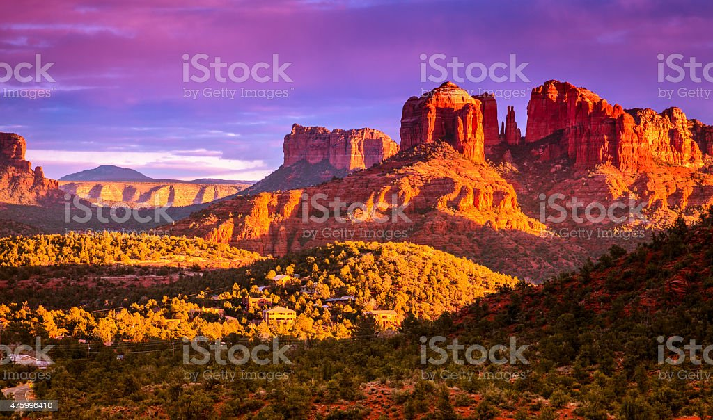 Cathedral Rock sunset stock photo