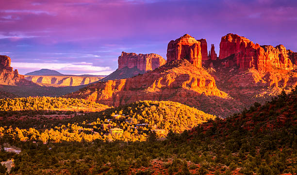 cathedral rock sunset - red rocks stock pictures, royalty-free photos & images