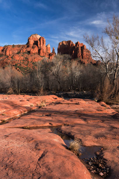 Cathedral Rock viewed from Red Rock State Park Arizona. stock photo