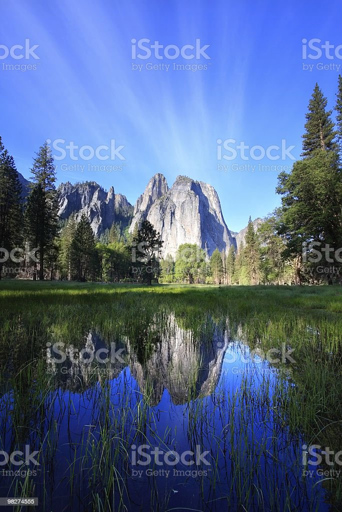 Cathedral Rocks and Sky Reflecting royalty-free stock photo