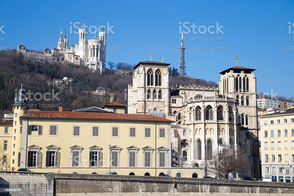 Cathedral Saint-Jean-Baptiste and Saint-Jean Library view from Saone river stock photo