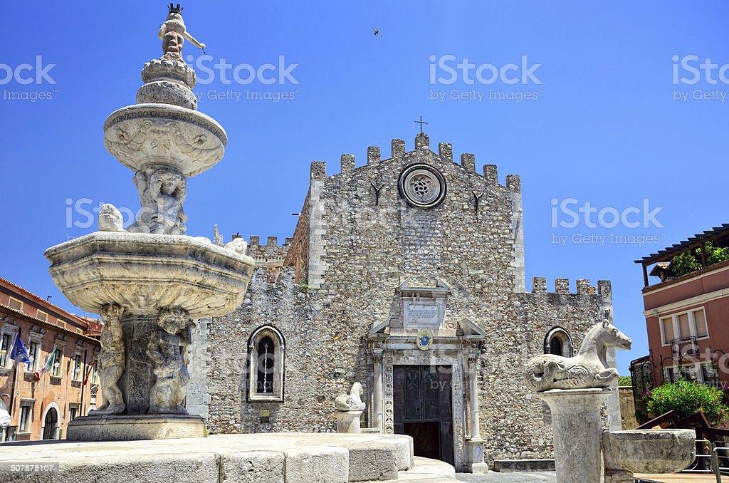 Cathedral San Nicola, Taormina stock photo