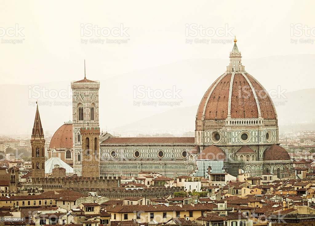 Cathedral Santa Maria del Fiore at sunset, Florence. stock photo