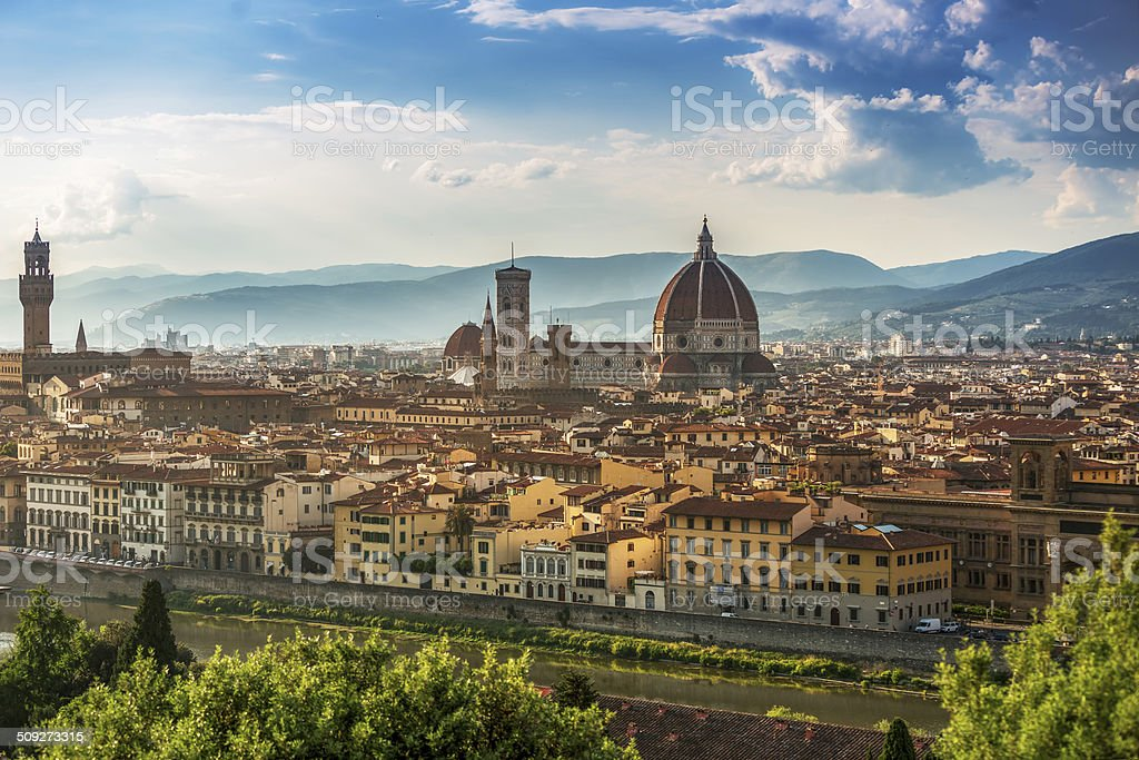 Cathedral Santa Maria del Fiore in Florence Skyline City, Tuscan stock photo