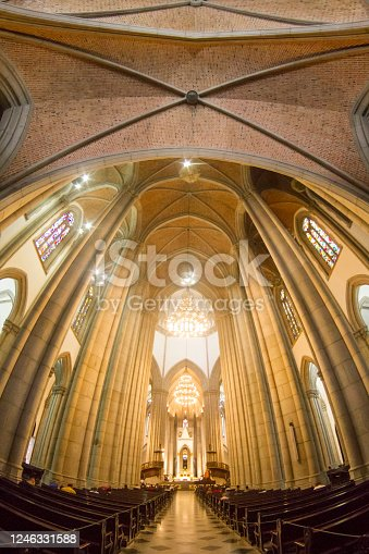 General interior view of Sé Cathedral, in downtown Sao Paulo, Brazil.