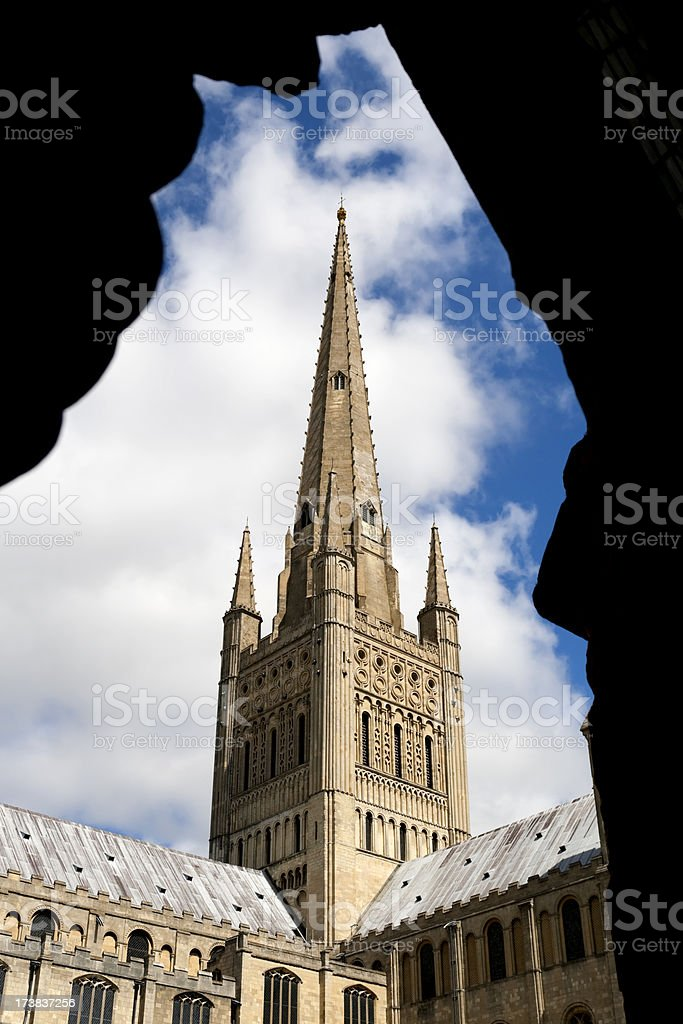 Cathedral spire through cloisters royalty-free stock photo