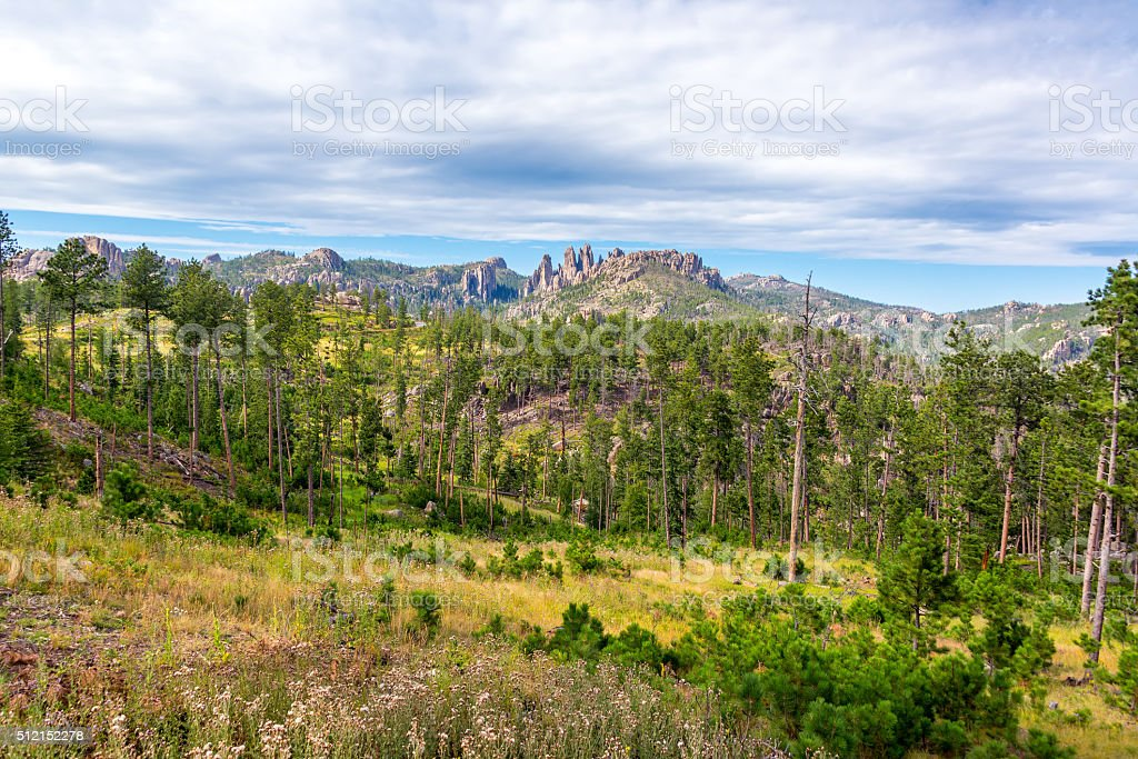 Cathedral Spires and Landscape stock photo