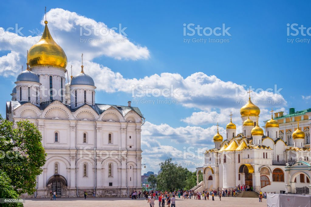 Cathedral square, Moscow Kremlin, Russia stock photo