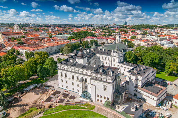Cathedral Square of Vilnius, Lithuania. stock photo