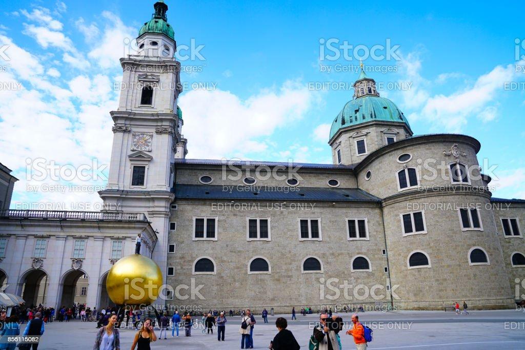 Cathedral Square, Salzburg. stock photo