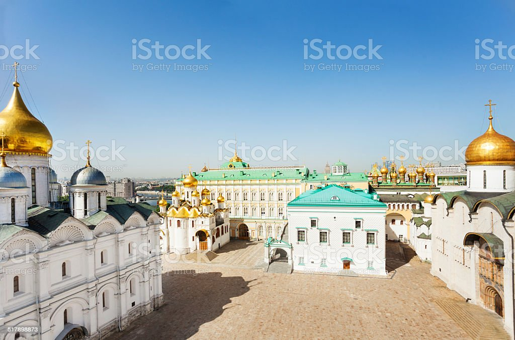 Cathedral Square with Palace of Facets top view stock photo