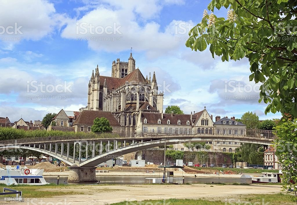 Cathedral st Etienne, abbey st German,  Auxerre stock photo