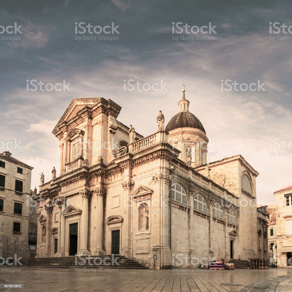 Cathedral - the Assumption of the Virgin Mary. Dubrovnik. Croatia. stock photo
