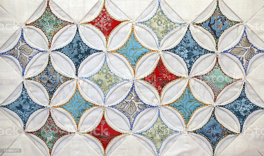 Cathedral Windows Quilted Pattern royalty-free stock photo