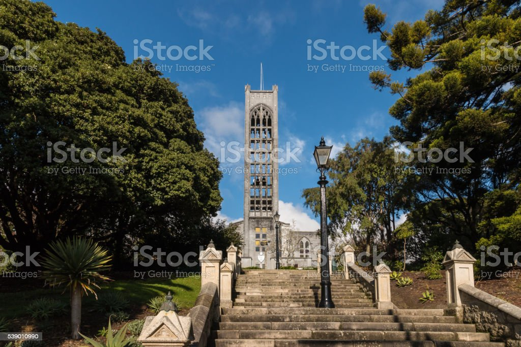 cathedral with staircase in Nelson, New Zealand stock photo