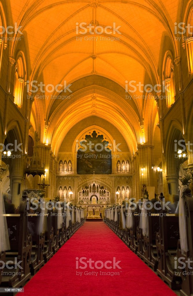 Cathedral with yellow illumination royalty-free stock photo
