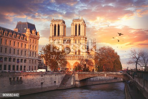 Cathedrale Notre Dame de Paris and the river Seine by sunset