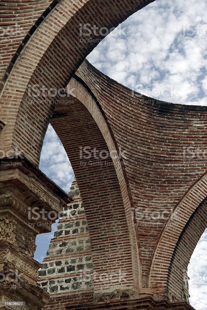 Cathedral's ruins of Antigua Guatemala stock photo