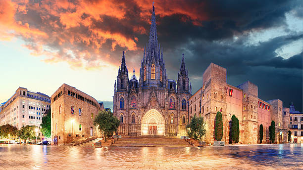Cathedrel de Barcelona, Plaza Nova stock photo