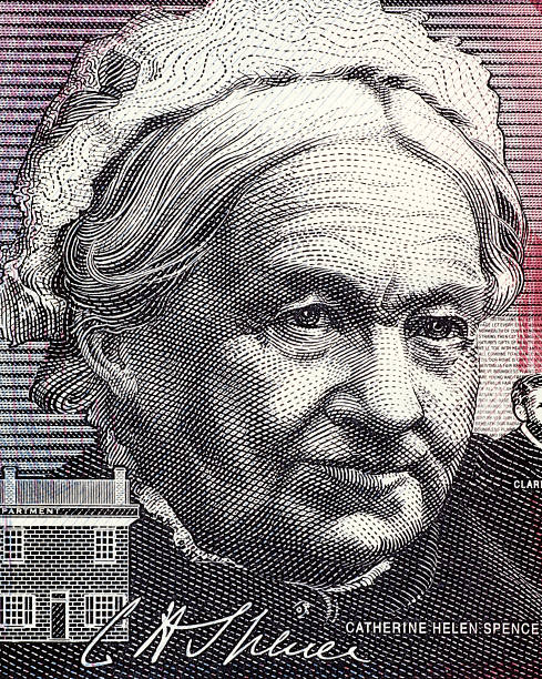 Catherine Helen Spence Catherine Helen Spence (1825-1910) on 5 Dollars 2001 banknote from Australia. Scottish born Australian author, teacher, journalist, politician and leading suffragist. Less than 30% of the banknote is visible. suffragist stock pictures, royalty-free photos & images