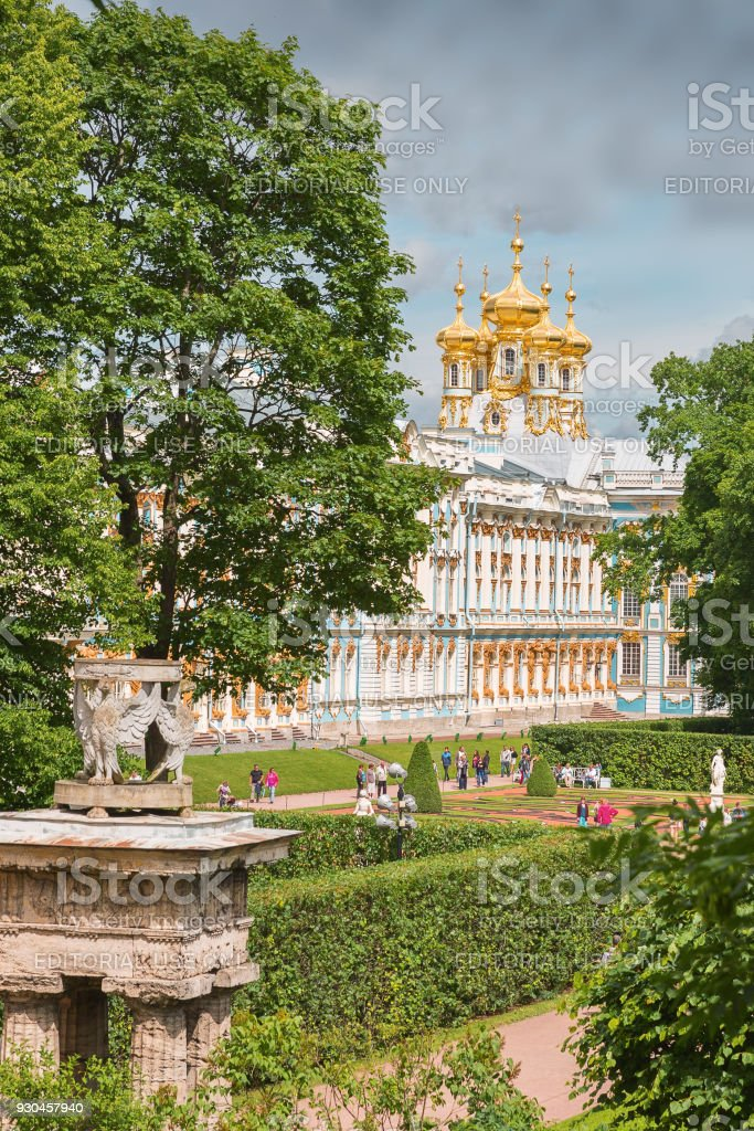 Catherine Palace in Tsarskoye Selo (Pushkin) with the church of the Resurrection, St. Petersburg stock photo