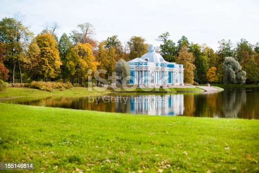 Catherine Parks in Pushkin. The white and blue building near the pond - Grotto (V.Rastrelli, 1753-1757). Under Catherine II was storage location of the ancient works of art - statues casts of ancient inscriptions. Marble pier was built already in the mid-XIX century (A. Vidov).