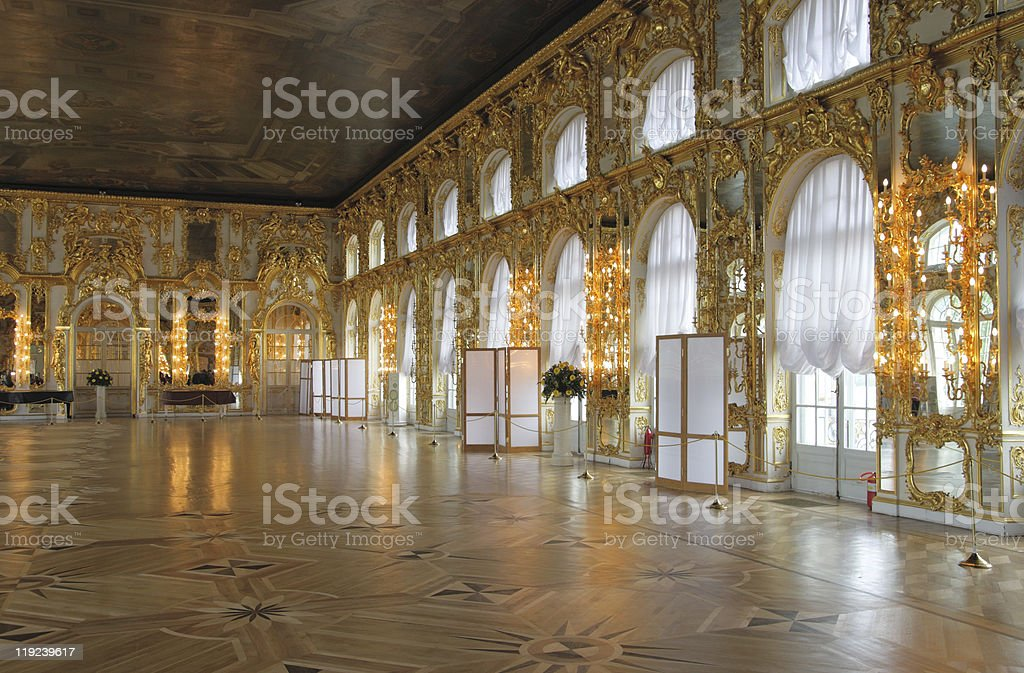 Catherine's Palace hall, Tsarskoe Selo (Pushkin), Russia. stock photo