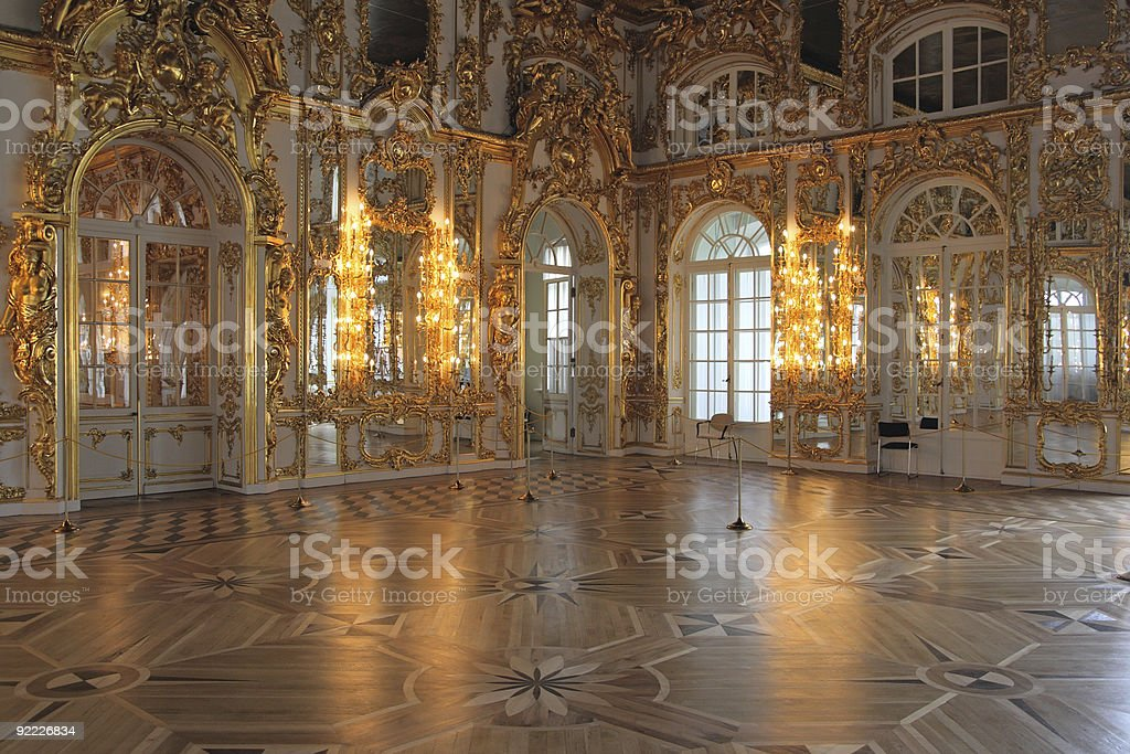 Catherine's Palace hall, Tsarskoe Selo (Pushkin), Rusia. - foto de stock