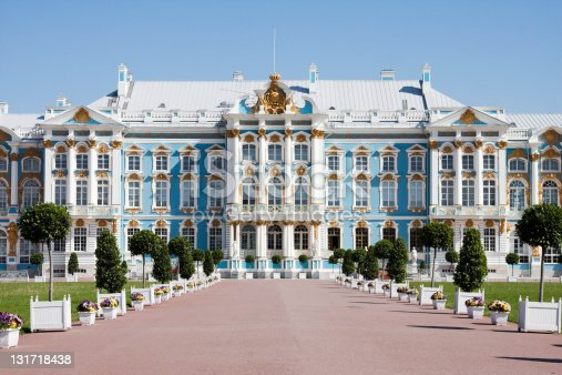 entrance of catherine's palace in tsarkoie selo, russia