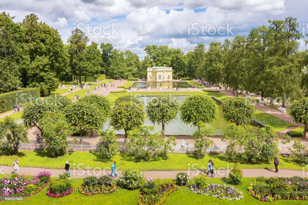 Catherine's park with Pavilion, near St. Petersburg. stock photo