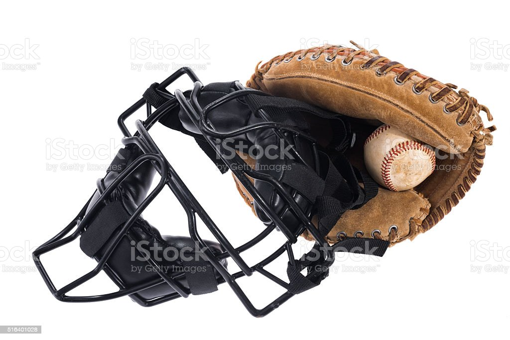 Cather's mask, glove and baseball on a white background stock photo