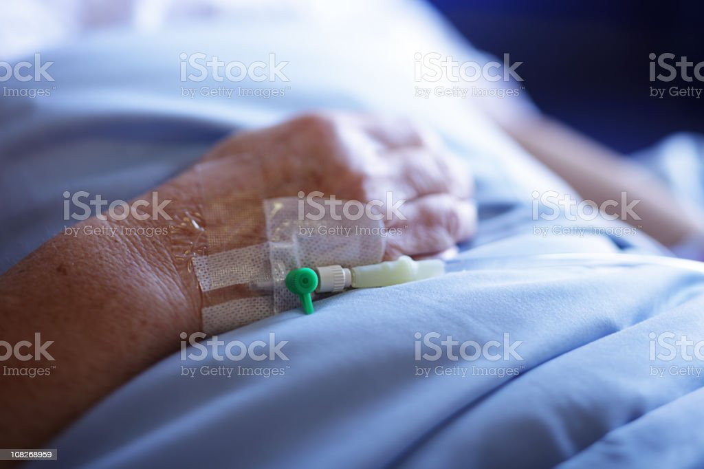 IV Catheter in Elderly Patient stock photo