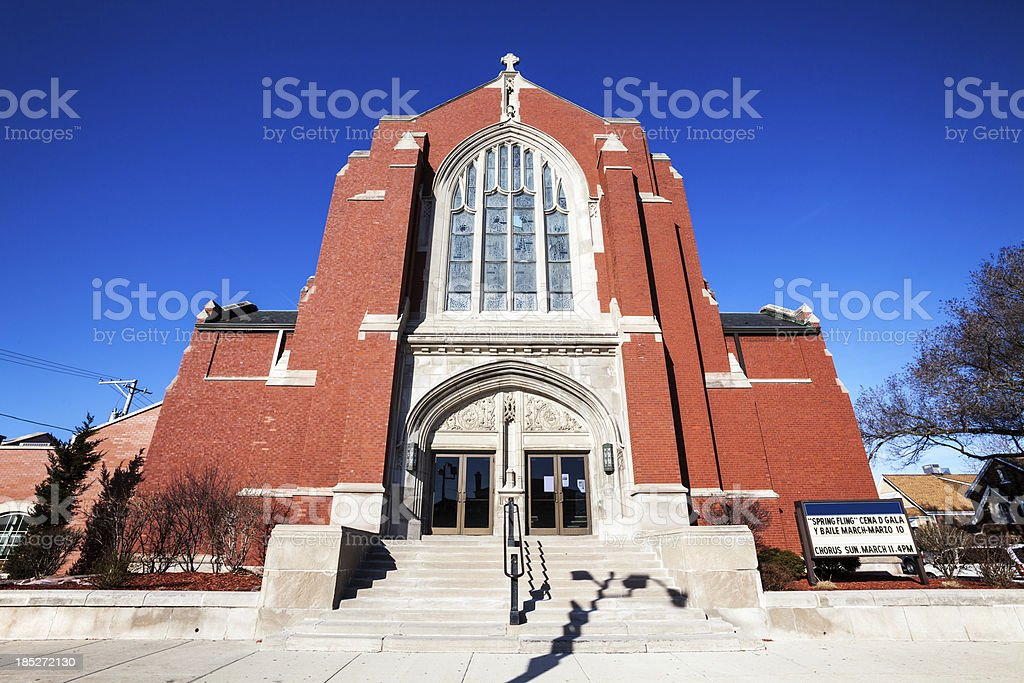 Catholc Church Facade in West Lawn, Chicago royalty-free stock photo