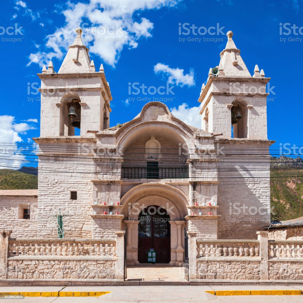 Catholic cathedral, Chivay stock photo