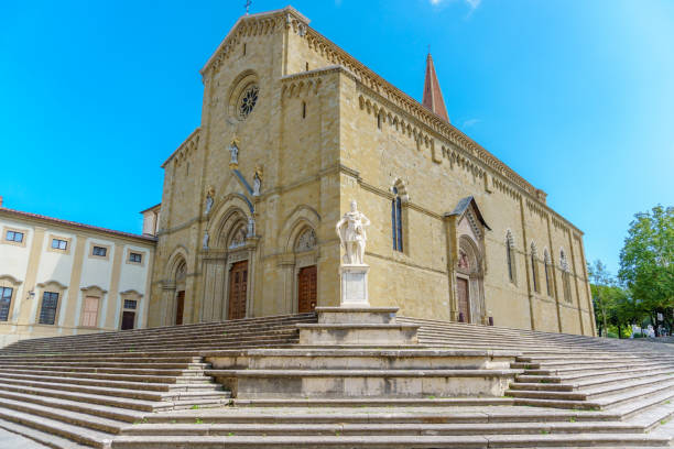 Catholic cathedral in the city of Arezzo Italy Roman Catholic cathedral in the city of Arezzo in Tuscany Italy arezzo stock pictures, royalty-free photos & images