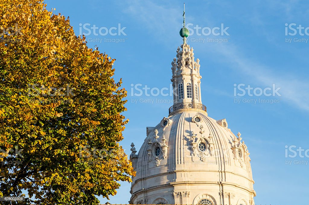 catholic cathedral of Estrela in Lisbon on autumn stock photo